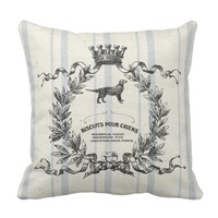 French Grain Sack Dog Biscuits Throw Pillow