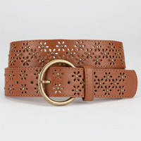 Perforated Flower Belt Cognac  In Sizes