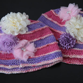 Knit Toddler Hat / Flower Toddler Hat / Princess Knit Hat / Ready to Ship!