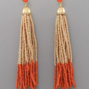 Taupe & Orange Tassel Earrings