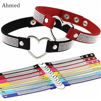 Ahmed Harajuku Sexy Love Accessory Full Rhinestone Velvet Choker Necklace For Women New Punk Collar Bijoux Necklaces Jewelry