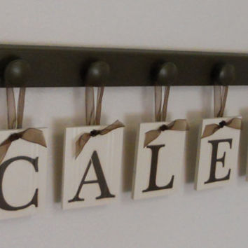 Baby Boy Room Decorations Hanging Wood Plaque - CALEB Includes 5 Hooks Chocolate Brown. Baby Name Art Nursery Decor