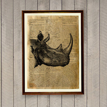 Rhino poster African animal print Savana wall decor