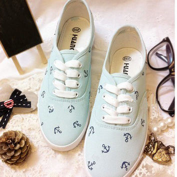 Lovely pure and fresh powder blue ocean JunFeng boat anchor canva