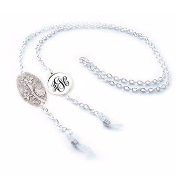 Siver Bird Monogram Eyeglass Chain Holder, Eyeglass lanyard reading glasses chain