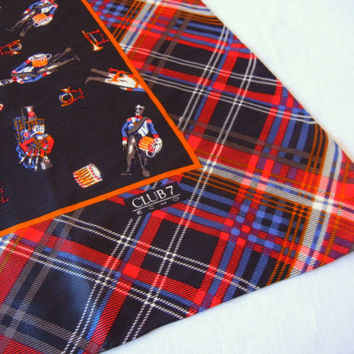 Plaid and Bagpipes Scarf, Scottish Drum Corps, Designer Club 7 Echo Silk, Large Accessory, 80s