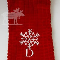 Christmas Towel / Red Towel / Red Kitchen Towel / Red Hand Towel / Red Christmas Towel / Snowflake Towel / Red Snowflake Towel / Christmas