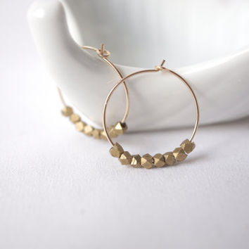 Brass Rock Crescent Earrings