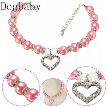 Dogbaby New Diamante Heart Rhinestone Pendant Mascotas Pearl Necklace Collar Pet Jewelry Pet supplies Pet shop dog accessories