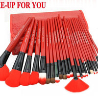 Makeup Brushes 24 Pcs Set Cosmetic Professional Make Up Brush 4 colors Nylon Fiber Wood Brushes