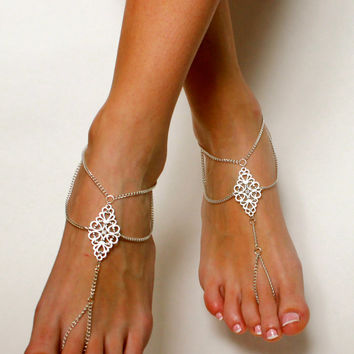 Boho Tribal Barefoot Sandals Chained Foot Jewelry Anklet Gypsy Sandals Slave Sandals Bare Foot Sandals Bohemian Sandals Boho Chic Jewelry