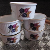 Royal Worcester Ovenware EVESHAM GOLD Blackberries Leaves, 5 Ramekins 3.25 Baking Cups, Porcelain, made in England, **Free Shipping