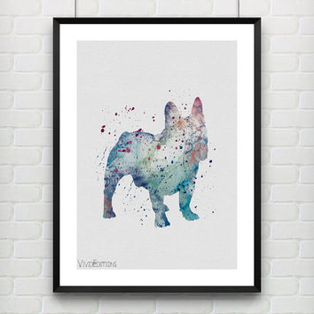 Dog Poster, French Bulldog Watercolor Art Print, Kids Decor, Minimalist Home or Office Decor, Gift, Not Framed, Buy 2 Get 1 Free! [No. 28]