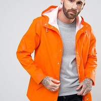 ASOS Shower Resistant Rain Coat In Orange at asos.com