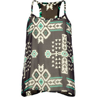Full Tilt Tribal Print Girls Tank Black Combo  In Sizes