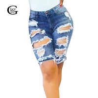 Lace Girl New Fashion Femme Denim Shorts Street Hole Stretch Jeans Slim Torn 2017 Europe Style Hole Ripped High Waist Jeans
