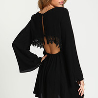 Black Crochet Crepe Bell Sleeves Dress
