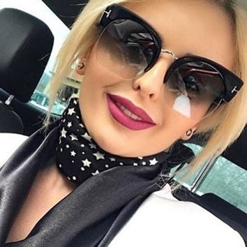 Outeye Brand Semi-Rimless Sunglasses Women Rerto Brand Designer Oversize Clear Lens Sun Glasses Fashion Sunglass Vintage New
