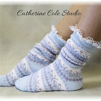 EDELWEISS SLIPPER Socks, Nordic design, The ultimate in comfort for walking and snuggling, Made in America by CatherineCole Studio SS1