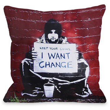 """Keep Your Coins Graffiti"" Indoor Throw Pillow by Banksy, 16""x16"""