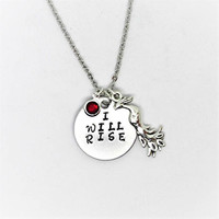 Handstamped Jewelry / I Will Rise Pendant Necklace / Phoenix Charm Necklace / Birthstone Chaelled Charm Necklace / Hand Stamped Jewelry