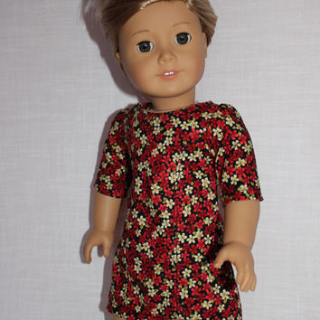 Boxing week sale! 18 inch doll clothes,doll dress, Ascot dress, black and red floral  print, american girl, Maplelea