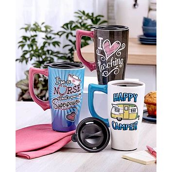 Unique 16 oz Microwavable Double Insulated Travel Gift Mug with Lockable Lid