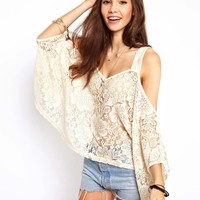 ASOS Top with Lace Cold Shoulder