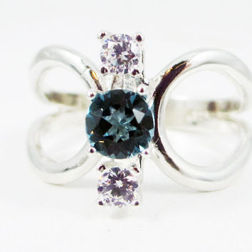 London Blue Topaz and CZ Loop Ring Sterling Silver 925, December Birthstone Ring, Three Stone Ring, Topaz CZ Ring, London Topaz Ring