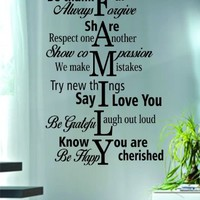Family Rules Quote Decal Sticker Wall Vinyl Home Love