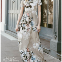 Tshirt Floral Pocket Maxi Dress - Stone