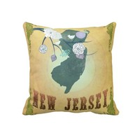 Vintage New Jersey State Map- Passion Fruit Yellow Pillow