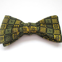 Vintage Clip On Bow Tie Green Gold Mid Century Geometric Print