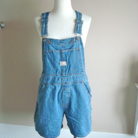 Vintage 80s Denim Overalls / 1980s Overall Shorts / Size Medium