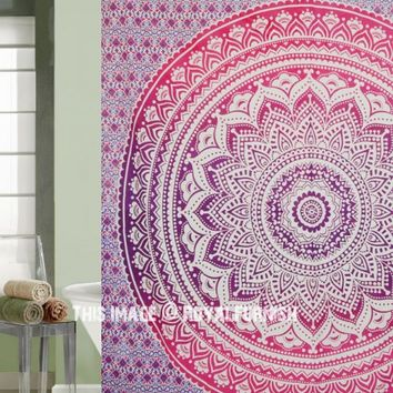 Pink  Purple Classic Ombre Mandala Boho Tapestry Shower Curtain on RoyalFurnish.com