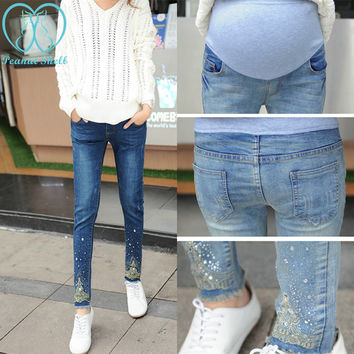 983# Rhinestones Embroidery Tassel Belly Maternity Jeans Fashion Pants Clothes for Pregnant Women Pregnnacy Pencil Trousers