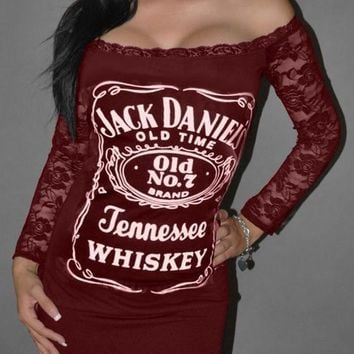 "Burgundy ""Jack Daniels"" Print Lace Off Shoulder Backless Clubwear Party Mini Dress"