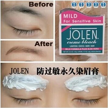 JOLEN Eyeborw Cream dyeing eye brow Permanent Pigment Shadow Bleach Hair Lightens Excess Dark Hair Regurlar/MILD