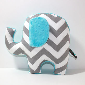 Chevron Elephant nursery pillow toy ELLE aqua blue grey gray plush for modern baby