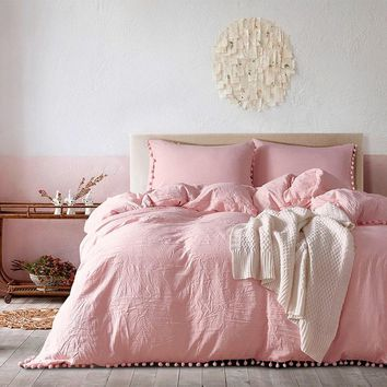 2/3pc Pink Bedding Sets with Small Ball Microfiber Fabric Twin Double Queen King Duvet Cover Pillowcase Comfortable Home Textile