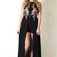 Strike A Rose Maxi Romper