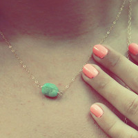 Chrysoprase Stone and Gold Necklace
