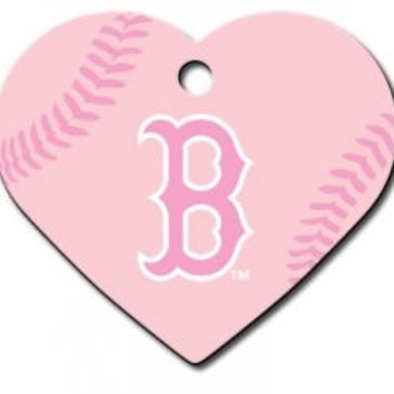Officially Licensed MLB Boston Red Sox Pink Heart Pet ID Tag