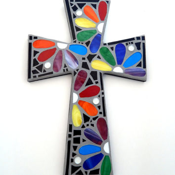 "Mosaic Wall Cross, Rainbow Floral Design, ""Daisies"", Multicolored/Bright Handmade Stained Glass Mosaic 15"" x 10"""