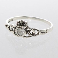 Claddagh Ring Irish Celtic Wedding Band Sterling Silver Cubic Zirconia