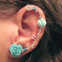 "Non Pierced Ear Cuff  ""Roses are Aqua"" Cartilage Conch Cuff Silver tone Wedding Prom"