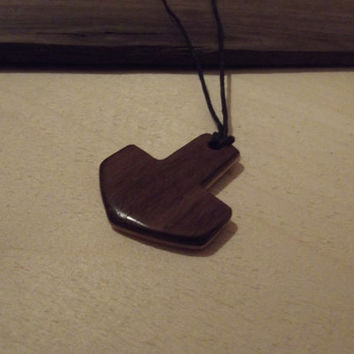 Wooden Pendant - Two-Tone Thor's Hammer Maple Black Walnut Hand Made