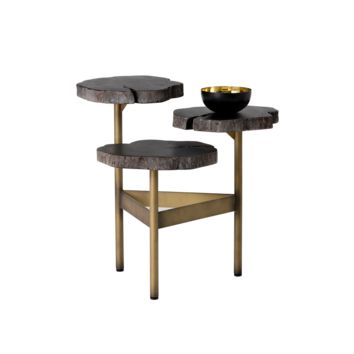 NAIM ANTIQUE BRASS METAL BASE WITH  THREE RUSTIC SOLID LONGAN WOOD TOP END TABLE