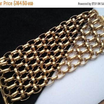 "ON SALE Big Chunky Chain Cuff Bracelet, 1970's Collectible Wide Statement Rare Gothic Rocker Style Heavy Vintage Jewelry 3"" Wide Runway"