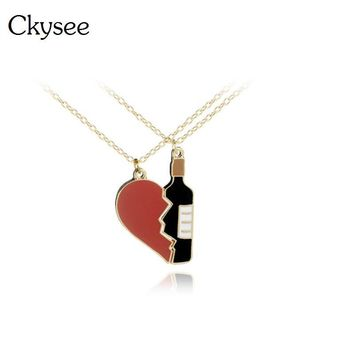 New 2pcs/set Half Love Heart Wine Bottle Pendant Necklaces Best Friends BFF Friendship Necklace For Couple Lovers Jewelry Gifts
